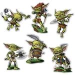 The Goblin Cutouts are green, muscular and dressed for battle. They are made of cardstock and measure between 12 and 14 inches. Printed on two sides. Contains 6 cutouts per package.