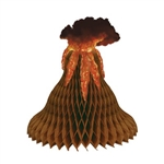 The Tissue Volcano Centerpiece is a brown tissue volcano with a cardstock lava and ash cloud included. It measures 15 inches tall and 14 1/2 inches at its widest point. Contains one per package. Simple assembly required.