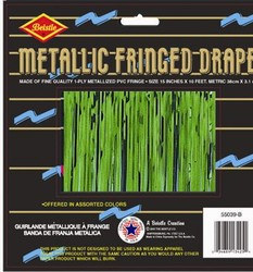 Green 1-Ply Metallic Fringe Drape