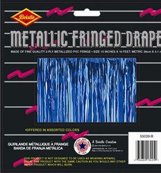 Blue 2-Ply Metallic Fringe Drape