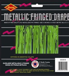 Green 2-Ply Metallic Fringe Drape
