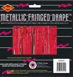 Red 2-Ply Metallic Fringe Drape