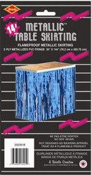 Blue 2-Ply Metallic Table Skirting