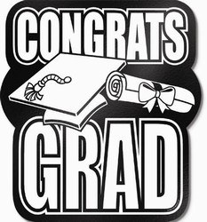 Black Foil Congrats Grad Cutout, 13 in