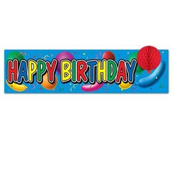 Happy Birthday Sign with Tissue Balloon, 8inx31in (1/pkg)