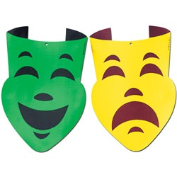 Comedy and Tragedy Faces, 18 inches (1/pkg)