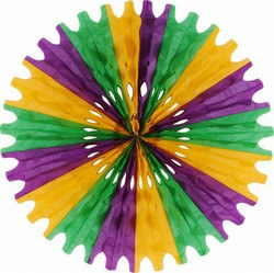 Green, Gold, and Purple Art-Tissue Fan