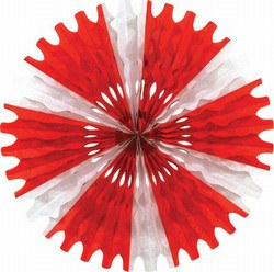 Red and White Art-Tissue Fan