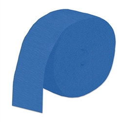 Medium Blue Flame Retardant Crepe Streamer, 85 ft
