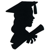 Girl Graduate Silhouette, 12 inches