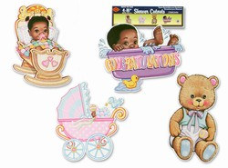 Black Baby-Shower Cutouts (4/pkg)