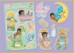 Black Baby Shower Punchouts (12/pkg)