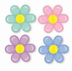 Retro Flowers with Tissue Center (1/pkg)