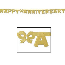 Gold Foil Happy Anniversary Streamer