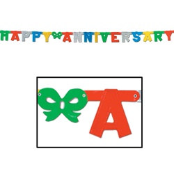 Multi-Color Foil Happy Anniversary Streamer