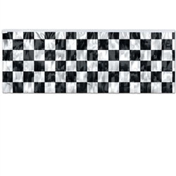 Metallic Black and White Checker Banner