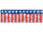 Flame Retardant Metallic Stars and Stripes Banner