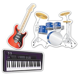 Musical Instrument Cutouts (3/pkg)