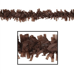 Whether you hang it from the ceiling, wrap it around a banister or outline your cubicle, the brown tissue festooning is ready to go! The product measures 25 feet long by three inches wide and is made of art-tissue material. Comes one per package