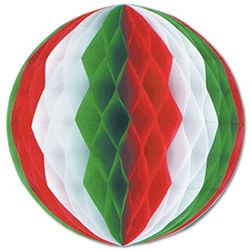 Red, White, and Green Art-Tissue Ball, 19 in