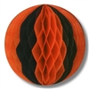 The Orange and Black Pkgd Tissue Ball is great for adding color to any room! Made of honeycomb tissue and measures 12 inches when fully opened. Contains one per package.
