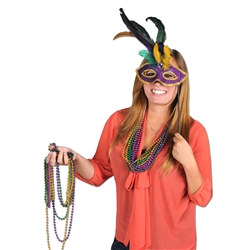 Gold and Purple Gemstone Mardi Gras Feathered Mask w/ Plastic Stick
