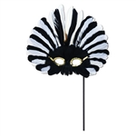 Black and White Feathered Mask w/ Plastic Stick