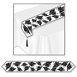 Black Printed Grad Cap Table Runner