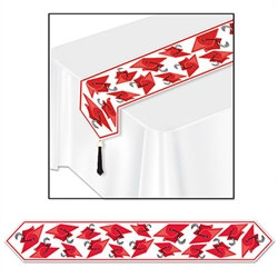 Red Printed Grad Cap Table Runner