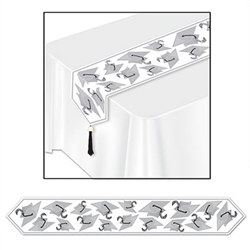 Silver Printed Grad Cap Table Runner