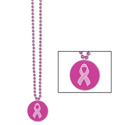 Pink Beads with Printed Pink Ribbon Medallion (1/pkg)