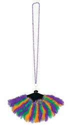 Beads with Mardi Gras Feather Fan (1/pkg)