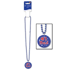 Blue Bead with Number 1 Dad Medallion (1 piece)