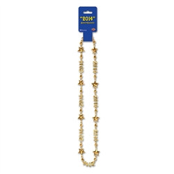 "Gold ""2014"" Beads-Of-Expression (One Beaded Necklace Per Package)"