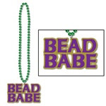 Green Beads with Bead Babe Medallion (1/pkg)