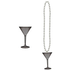 Silver Beads with Martini Glass (1/pkg)