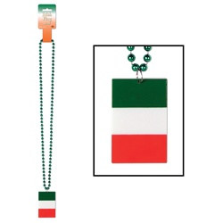 Beads with Printed Irish Flag Medallion