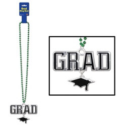 Green Beads with Black and Silver Grad Medallion