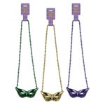 Mardi Gras Beads with Mask Medallion