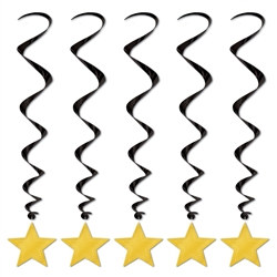 Black and Gold Metallic Star Whirls (5/pkg)