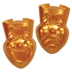 Gold Plastic Comedy and Tragedy Faces