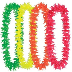 Assorted Silk N Petals Neon Lotus Leis (1/pkg)