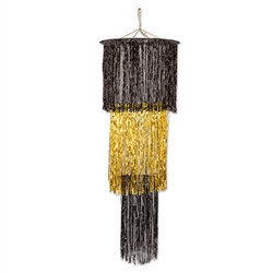 Black and Gold 3-Tier Shimmering Chandelier