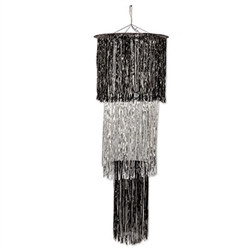 Black and Silver 3-Tier Shimmering Chandelier