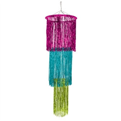 Cerise, Light Green, Turquoise 3-Tier Shimmering Chandelier