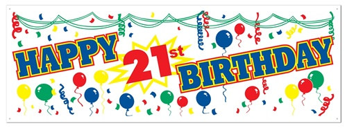 Happy 21st Birthday Sign Banner PartyCheap