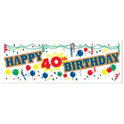 Happy 40th Birthday Sign Banner