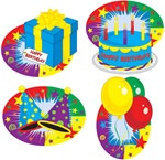 Happy Birthday Cutouts (4/pkg)
