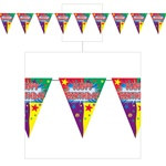Happy Birthday Pennant Banner, 12 ft