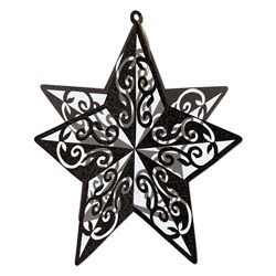 3-D Black Glittered Star Centerpiece